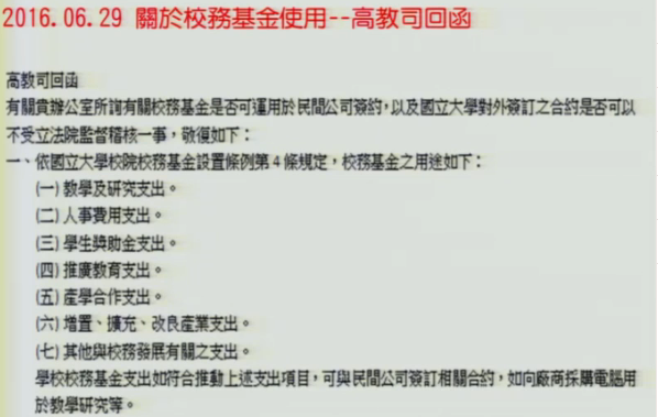 黃國書表示,用在高餐藍帶合作案的校務基金,並不符合依據《國立大學校務基金設置條例第4條》用途。(圖/ 截圖自立法院)